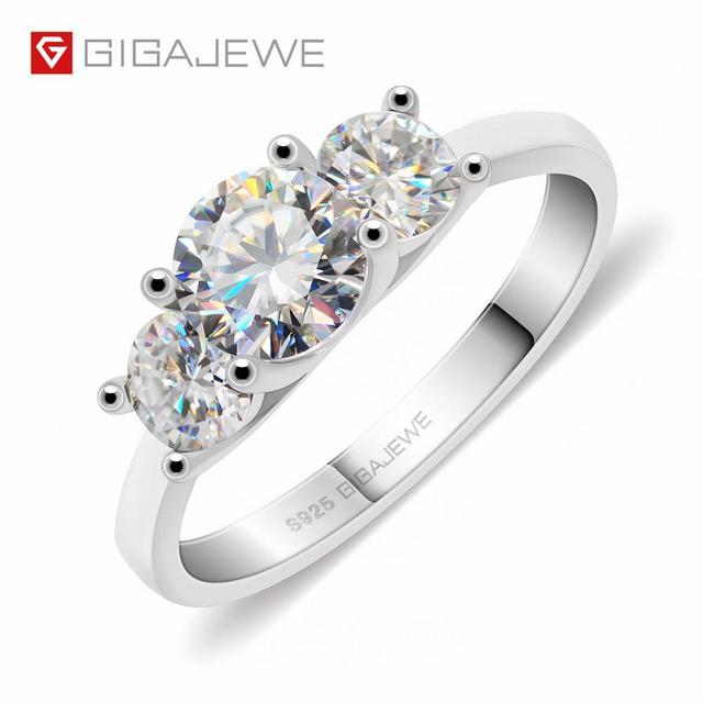 GIGAJEWE Moissanite 1.2ct 5.5mm + 2X4.0mm yuvarlak kesim EF renk 925 gümüş yüzük altın çok katmanlı kaplama kız arkadaşı noel hediyesi