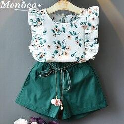 Menoea 2020 Brand New Girls Fashion Summer Sets Girls Clothes Kids Clothing Sets Sleeveless Floral T-Shirt Short 2Pcs Suits