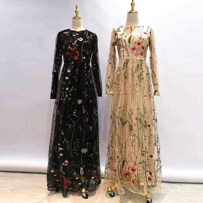 Lace Floral Abaya Dubai Turkish Dresses Hijab Muslim Dress Abayas For Women Caftan Kaftan Robe Islamic Clothing Tesettur Elbise