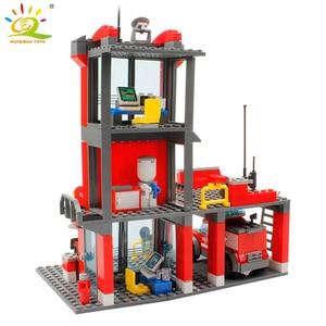 Image 3 - HUIQIBAO 300 sztuk miasto straż pożarna klocki strażak człowiek figurki ciężarówka budowa samochodu cegły zabawki dla dzieci prezent