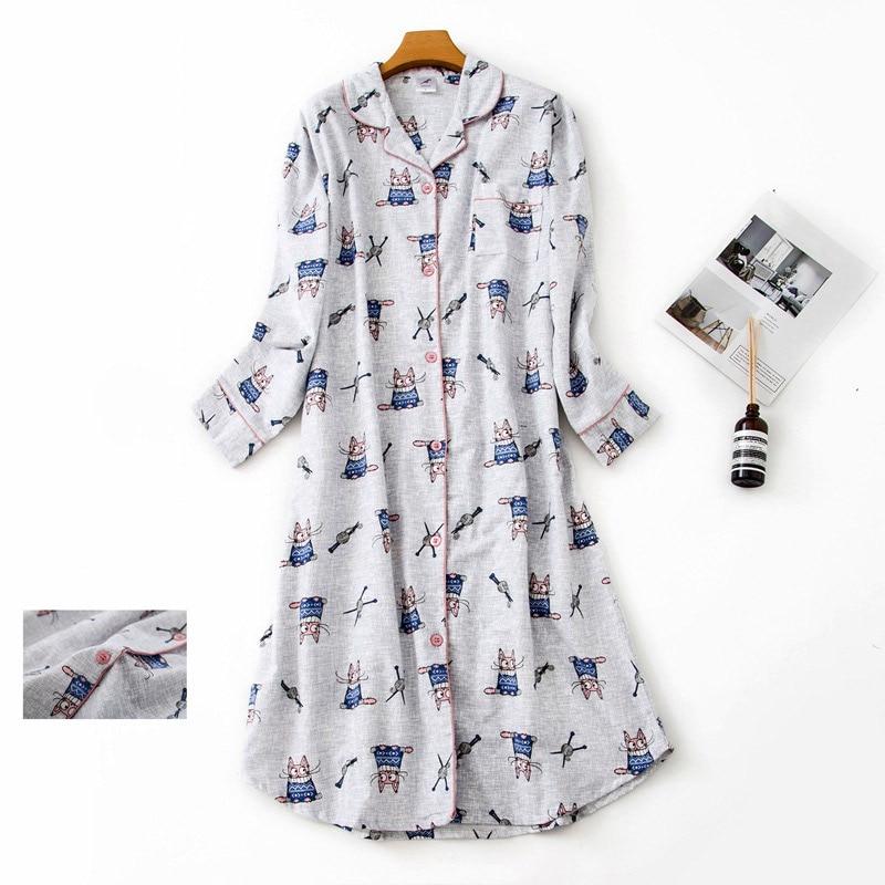 100% Cotton Extended Flannel Nightdress Women New Heart Printed Long Sleeve Sleepwear Female 2020 Autumn Winter Lady Nightwear 3