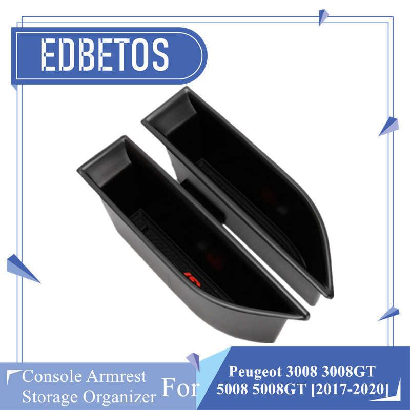 2PCS Puerta Frontal Lado Negro armest Caja de almacenamiento Soporte para Peugeot 3008 GT 2016-18