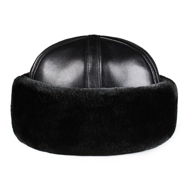 2019 New Mens And Women Genuine Sheepskin  Beanie Hats  Black Sheepskin Warm Fur Caps Gift Hats For Mum Free Shipping