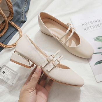 Chic Buckle Mary Jane Loafers Women Mid Heel Shoes Round Toe Comfortable Slip-on Beige Women Pumps Office Shoes new 2019 brand design lolita style pink satin mary jane shoes thick chunky jewelry heel rhinestone buckle women pumps