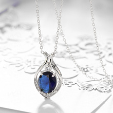 цена на 925 Sterling Silver Necklace for Women Sapphire Diamond Pendant Silver S925 Link Chain Fine Ruby Jewelry Gemstone Jade Pendants