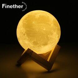 Перезаряжаемая лампа с 3D принтом в виде Луны, 2 цвета, сенсорный выключатель для спальни, книжный шкаф, Ночной светильник, домашний декор, кре...