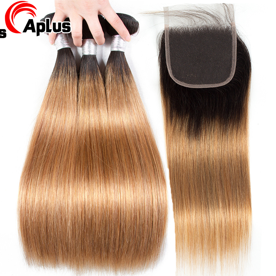 Brazilian Ombre Hair Bundles With Closure Straight Bundle With 4*4 Lace Closure Remy Human Hair Weave 2 Tone Closure 1b 27 Aplus