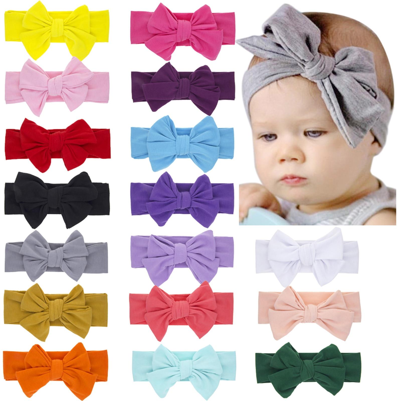 Ragazza fasce per bambini per neonato fascia per capelli solido Bowknot fiocco elastico copricapo berretto turbante accessori pe
