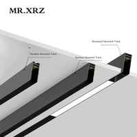 MR.XRZ 1m DC 24V Recessed Surface Pendant Aluminum Magnet Track Rail For LED Lamps Ceiling Rail System Magnetic Track Lighting