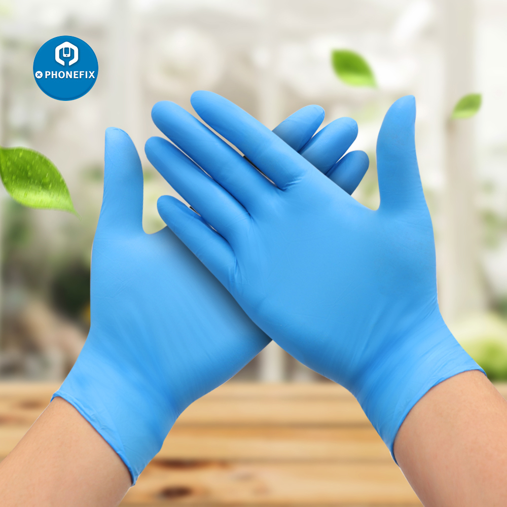 6pcs/lot Nitrile Gloves Blue Anti Static Electronic Industrial ESD Work Gloves Waterproof Allergy Free Disposable Safety Gloves