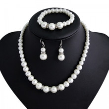 цена на European and American  fashion pearl necklace bride jewelry necklace earrings bracelet suit  Freshwater Pearl Sets