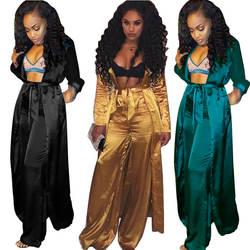 Осенние модные одинаковые комплекты для женщин, длинный рукав, v-образный вырез, сексуальный длинный кардиган со шнуровкой, брюки