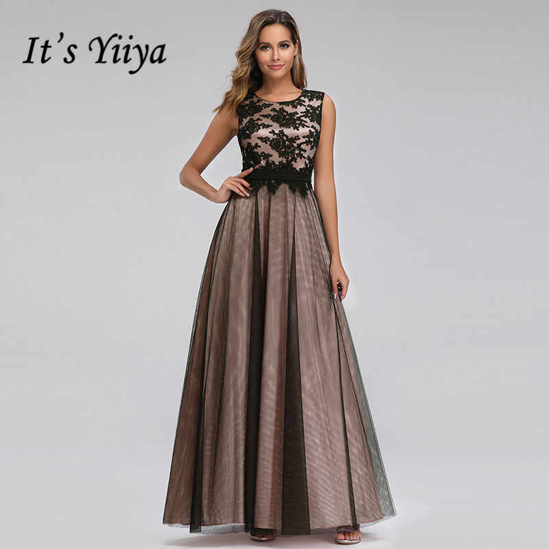 It's Yiiya Evening Dress Plus Size O-neck Women Party Dresses A-line Lace Robe de Soiree Elegant Tank Long  Formal Gowns C433