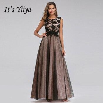 It's Yiiya Evening Dress Plus Size O-neck Women Party Dresses A-line Lace Robe de Soiree Elegant Tank Long  Formal Gowns C433