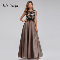 It's Yiiya Evening Dress Plus Size O neck Women Party Dresses A line Lace Robe de Soiree Elegant Tank Long Formal Gowns C433