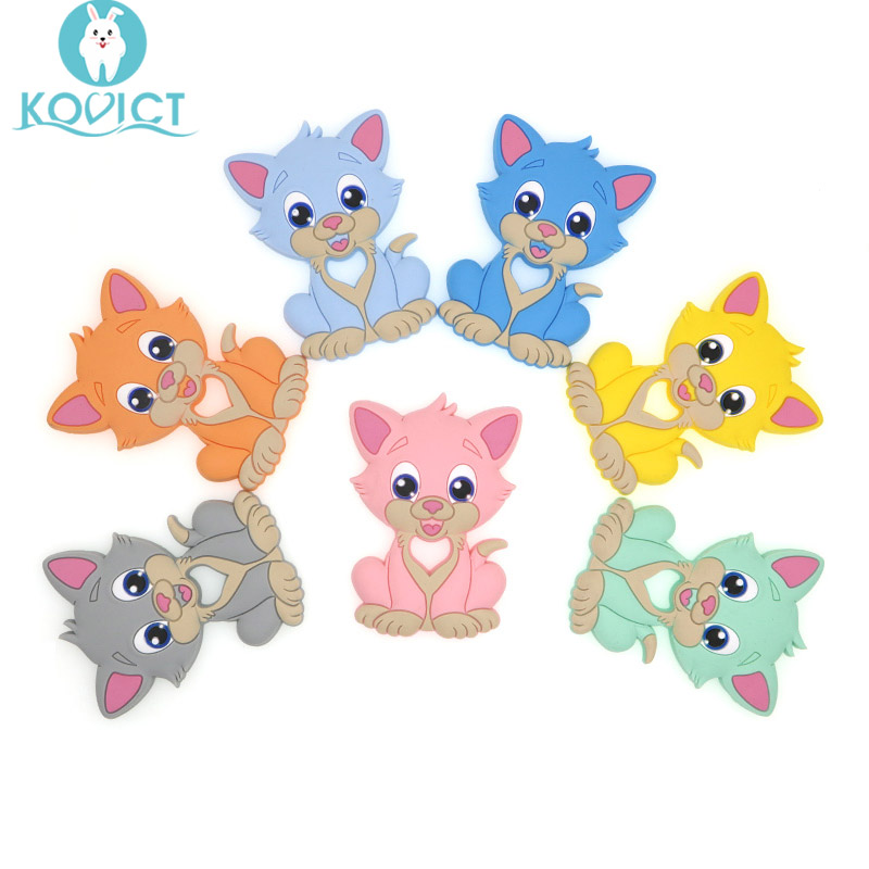 Kovict BPA Free 1PC Puss Silicone Baby Teether Rodent Baby Teething Toys Chewable Animal Shape Baby Products Nursing Gift