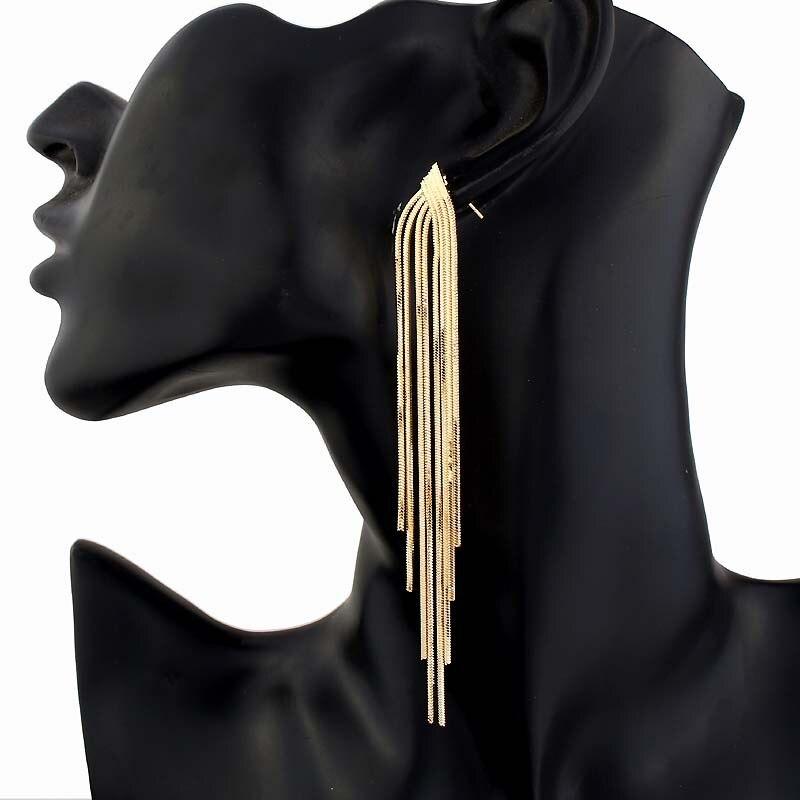 Популярные золотые, серебряные длинные висячие серьги с кисточками для женщин, свадебные висячие серьги, модные подарки, вечерние ювелирные изделия для невесты on AliExpress