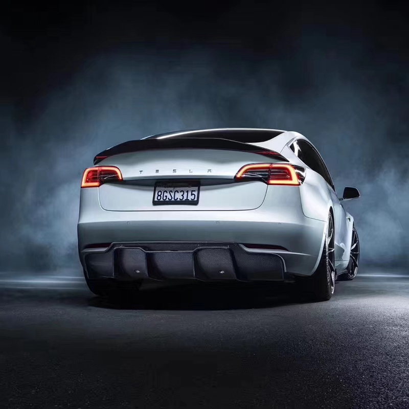 Pour Tesla modèle 3 2017 2020 arrière fibre de carbone arrière botte aile Spoiler arrière toit aileron aile coffre lèvre botte couverture voiture style - 2