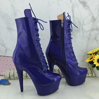 Leecabe Blue PU Upper 15CM/6Inch Women's Platform party High Heels Shoes Pole Dance boots