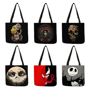 Dark Black Cool Skull Print Linen Tote Bag Eco Reusable Shopping Bags For Women Traveling School Shoulder Bags Folding(China)