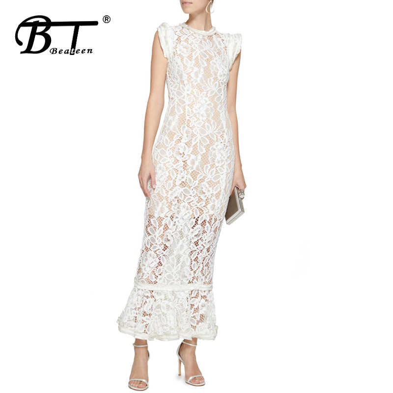 Beateen 2019 nueva moda dulce Casual encaje Maxi vestidos Rosa llamarada manga larga primavera bordado Floral