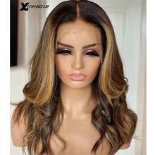 Xinhaoze maylaysia destaque loira 13*4 frente do laço perucas de cabelo humano para preto pré arrancadas perucas de renda frontal para mulher