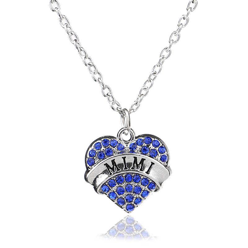 Berlian Imitasi Kristal Cinta Hati Liontin Kalung Rantai Teman Keluarga Ibu Adik Guru Nenek Perawat Ibu Pesona Perhiasan Fashion