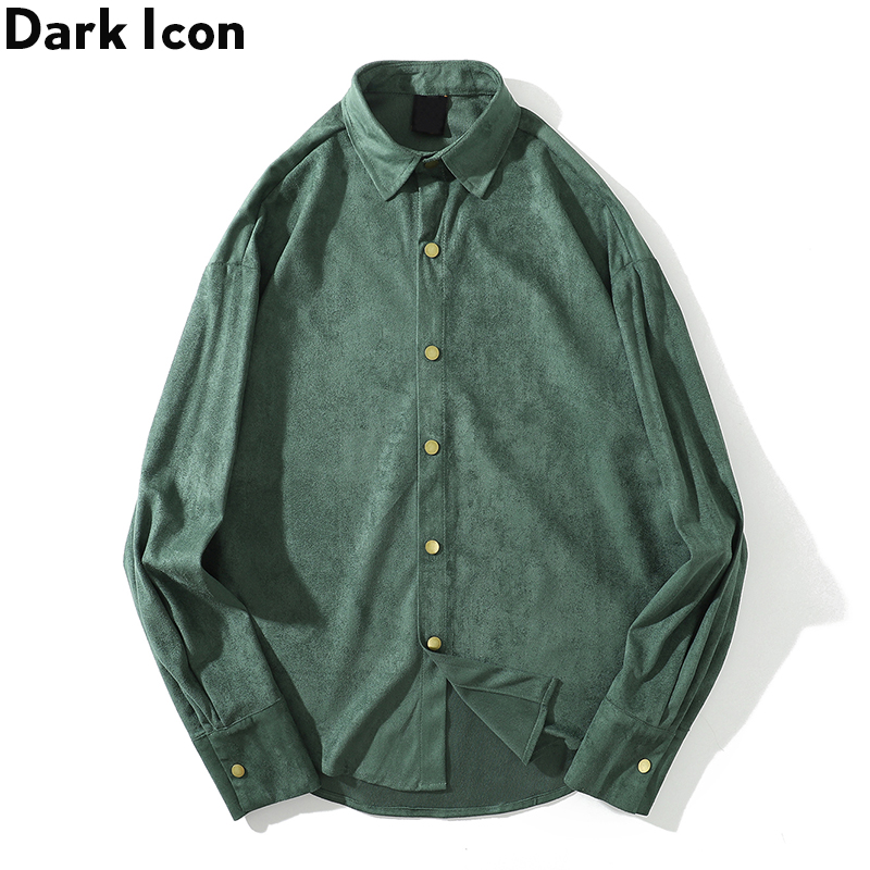 Dark Icon Suede Shirt Men Turn-down Collar Plain Shirt Long Sleeve Streetwear Men's Shirts Black Green