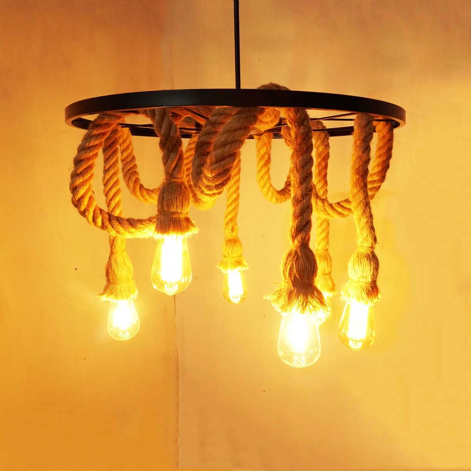 Industrie 6 köpfe loft kronleuchter edison E27 lichter hanf seil anhänger lampe bar restaurant cafe esszimmer wohnzimmer droplight