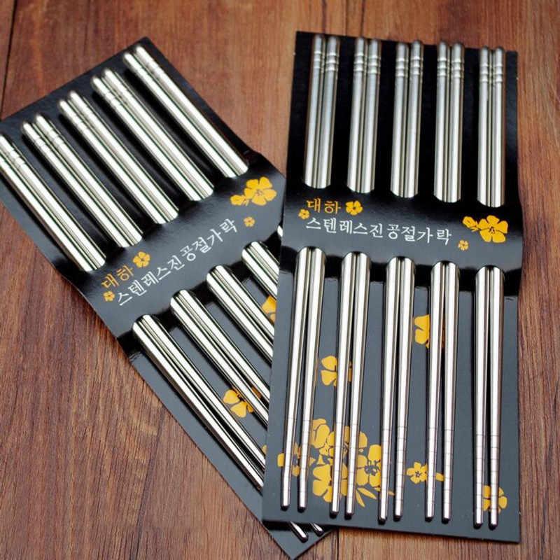 Colheres quadrados de aço inoxidável, 5 pares chinês de aço inoxidável, estilo chinês, saudável, peso leve, palitos chineses, metal, antiderrapante, design de cozinha