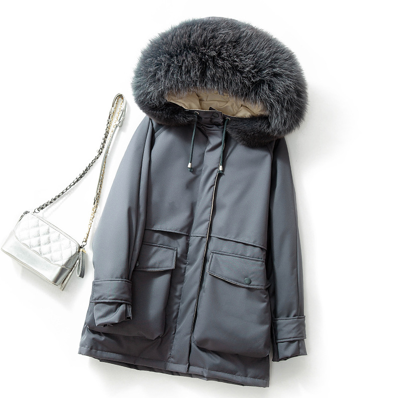 Ailegogo Winter Women Big Natural Fox Fur Collar Jacket Hooded 90% White Duck   Down   Parkas Thickness Warm Sash Tie Up Snow   Coat