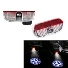 ブルーled車のドアプロジェクター装飾ランプ歓迎ライトvwパサートB6 B7 B8 ccサートティグアントゥアレグゴルフジェッタシャランシロッコトランスポーターeos