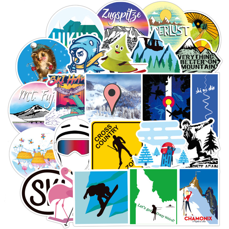 70PCS Skiing Stickers Sports Style Skateboard Backpack Creative Decor For Luggage Snowboard Fridge Styling Laptop Stickers F3