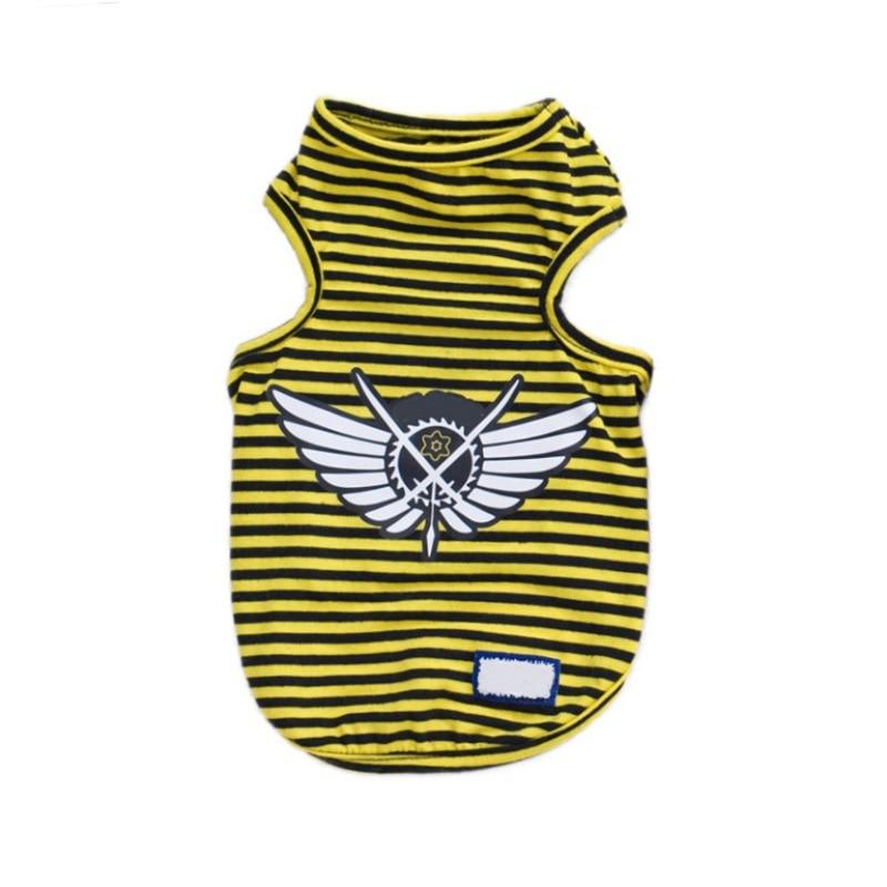 Одежда для собак, футболки для щенков, милые спортивные футбольные майки для кошек, полосатый жилет, весенние пальто для питомцев, жилеты для щенков - Цвет: Цвет: желтый