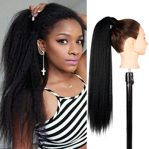 AZQUEEN Yaki Straight Ponytail Extensions for Black Women Synthetic Light Ponytail Hairpiece Magic Paste ponytail human hai