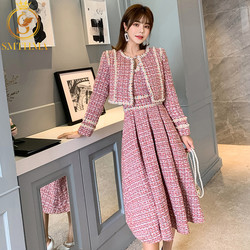 SMTHMA Winter Neue mode frauen Tweed kurzen mantel und kleid zwei-stück anzug Hohe Qualität frauen Sicken kleid 2 stück Sets