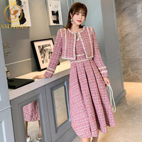 SMTHMA Winter New fashion women's Tweed short coat and dress two piece suit High Quality Women's Beading Dress 2 piece Sets