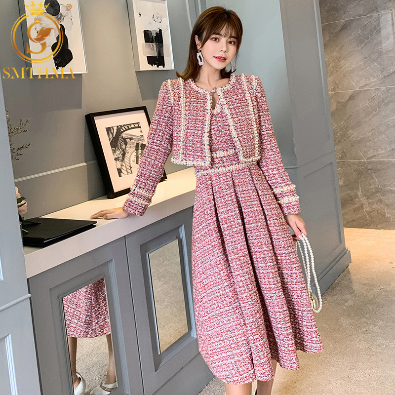 SMTHMA Winter New Fashion Women's Tweed Short Coat And Dress Two-piece Suit High Quality Women's Beading Dress 2 Piece Sets