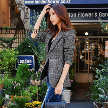 Dabuwawa Elegant Autumn Winter Plaid Women Blazer Coat Causa
