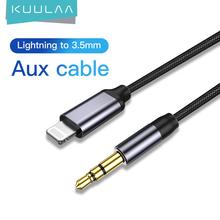 KUULAA Aux kabel do iPhone 11 Pro XS Max X XR 8 7 iPad IOS 3 5mm Jack męski kabel konwerter samochodowy słuchawki Audio Adapter tanie tanio Mężczyzna Mężczyzna NONE KL-O09-1 CN (pochodzenie) Audio Przedłużacz Błyskawica Pakiet 1 Woreczek foliowy Oplot