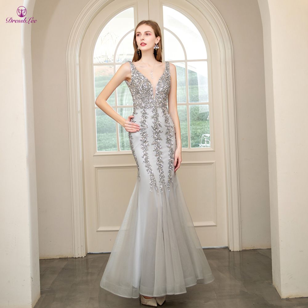 DressbLee Silver Mermaid Prom Dress Sequined Full Beaded Crystal Long Prom Dresses Transparent Backless Sex Formal Party Gowns