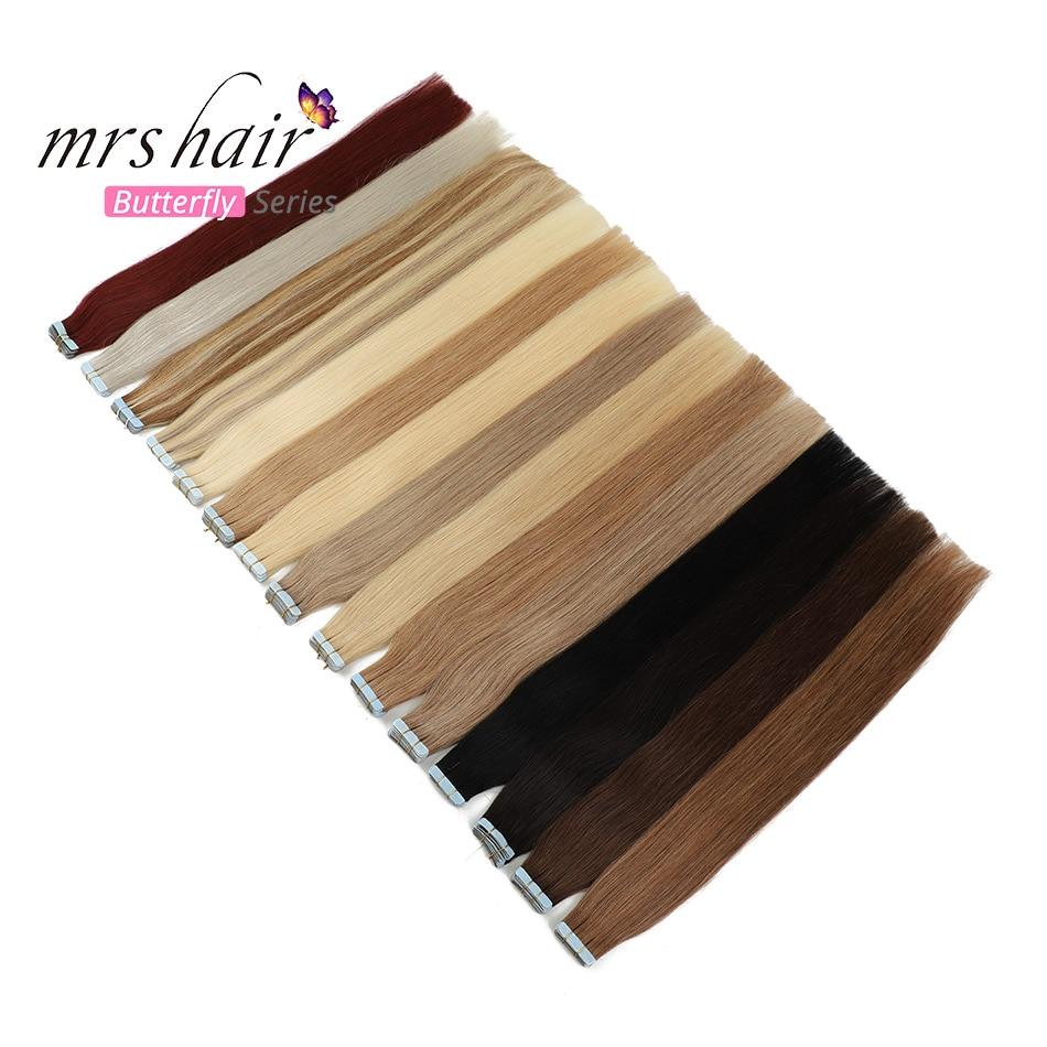 MRSHAIR 6 #20 pcs Tape Pele Trama Do Cabelo Humano Em Linha Reta Na Extensão Do Cabelo Não-Remy Fita Dupla Face cabelo 16