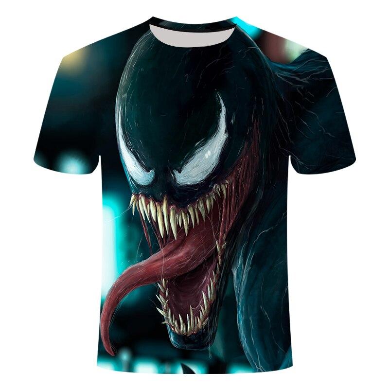 3D Men's T-shirt 2019 New Men's 3D Digital Printing T-shirt Summer Fashion Venom Short-sleeved Round Neck Casual T-shirt Top