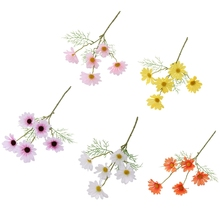 10 Bouquets 5 Heads Artificial Calliopsis Flowers Fake Silky Coreopsis with Stem