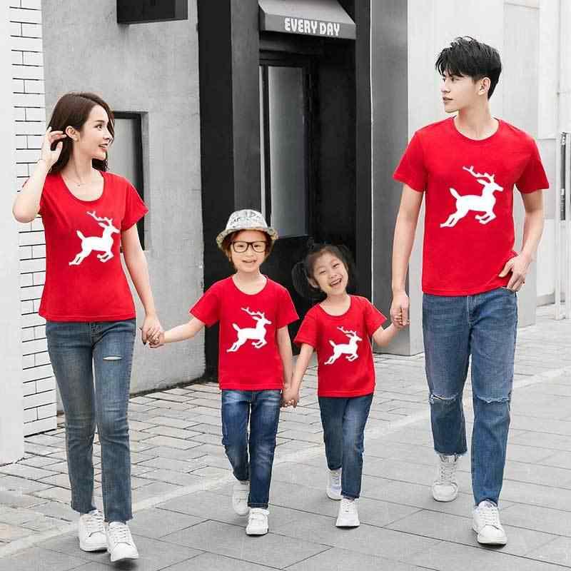 Одинаковые наряды для семьи Рождественская семейная футболка для мамы и дочки с коротким рукавом Одежда для Отца и Сына семейный костюм для папы и мамы
