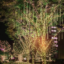 Upgraded Meteor Shower Rain Lights 30cm 10 Spiral Tubes 60 LEDs Cascading Rain Lights for Wedding Christmas Garden Tree z90(China)