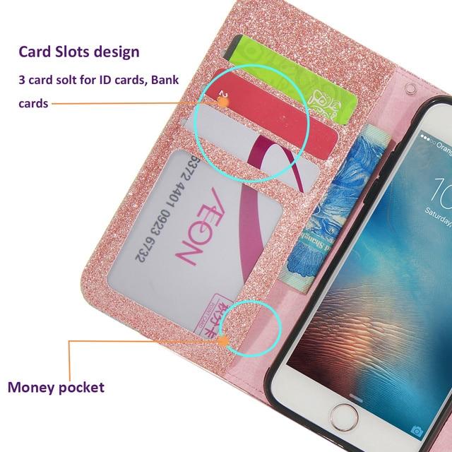 LAPOPNUT Bling Leather Flip Wallet Slim Cover Case for Iphone 11 Pro Xs Max Xr X 7 8 Plus 6 6s 5 5s SE Rose Gold Handbag Coque