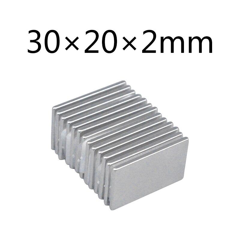 Ev Dekorasyonu'ten Manyetik Malzemeler'de 10/20/50 adet mıknatıs 30*20*2mm güçlü nadir toprak ince dilim blok kare neodimyum mıknatıs 30x20x2mm kalıcı mıknatıslar N35 title=
