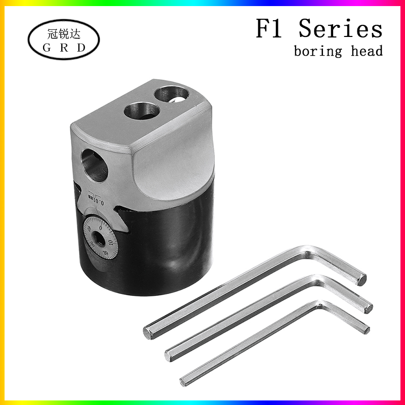2inch 50mm F1 Type Boring Head 12mm Lathe Boring Bar Milling Holder For MT2 MT3 R8 Shank Milling Machine Tools + Hex Wrenche