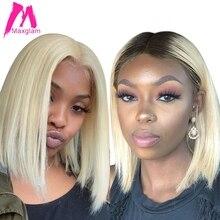 Короткий парик Боб блонд 613 кружевные передние человеческие волосы парики Омбре T1B/613 цвет бразильские Прямые длинные предварительно выщипанные для черных женщин Реми